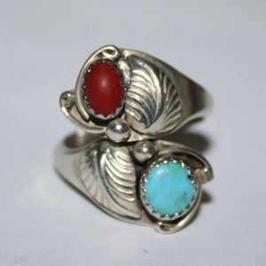 Vintage sterling native ring w coral and turquoise